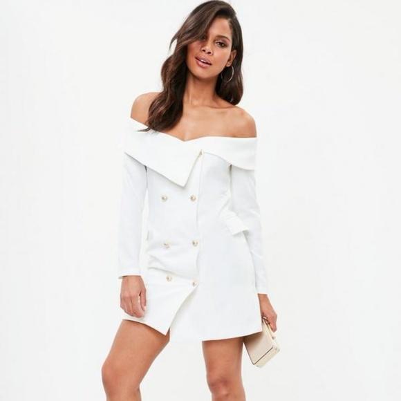 3e273c610e54 white bardot gold button blazer shift dress